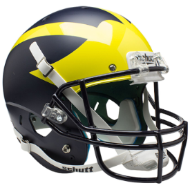 Michigan Wolverines Satin Blue 2016 Schutt XP Replica Full Size Football Helmet