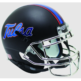 Tulsa Golden Hurricane Matte Black Chrome Mask Schutt XP Replica Full Size Football Helmet