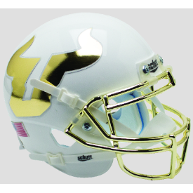 South Florida Bulls White w/Chrome Mask Schutt XP Replica Full Size Football Helmet