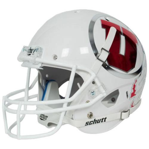 Utah Utes White Chrome Decal Schutt XP Replica Full Size Football Helmet