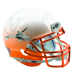 Virginia Cavaliers White Orange Featherhead w/Chrome Schutt XP Replica Full Size Football Helmet