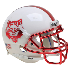 Arkansas State Red Wolves Schutt XP Authentic Mini Football Helmet White with Chrome