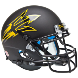 Arizona State Sun Devils Matte Black Pitchfork Schutt XP Authentic Mini Football Helmet