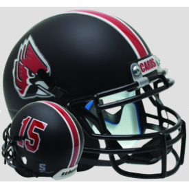 Ball State Cardinals Matte Black Schutt XP Authentic Mini Football Helmet