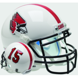 Ball State Cardinals White w/Number Schutt XP Authentic Mini Football Helmet