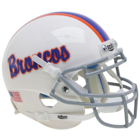 Boise State Broncos White Schutt XP Authentic Mini Football Helmet white w/ Pinstripe