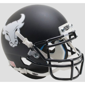 Buffalo Bulls Matte Black Bull Schutt Mini Football Helmet Desk Caddy