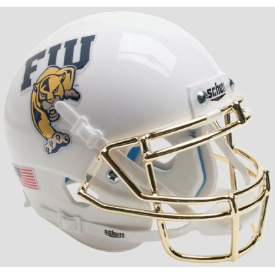 Florida International Golden Panthers White w/Chrome Mask Schutt XP Authentic Mini Football Helmet