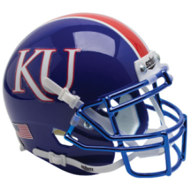 Kansas Jayhawks Blue Chrome Mask Schutt XP Authentic Mini Football Helmet