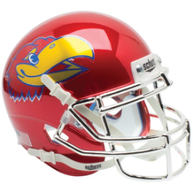 Kansas Jayhawks Scarlet Chrome Schutt XP Authentic Mini Football Helmet