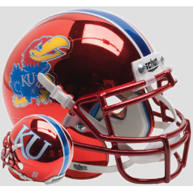 Kansas Jayhawks Red Chrome Schutt XP Authentic Mini Football Helmet