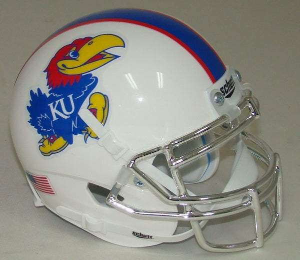 Kansas Jayhawks White Chrome Mask Schutt XP Authentic Mini Football Helmet
