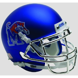 Memphis Tigers Satin Blue w/ chrome mask Schutt XP Authentic Mini Football Helmet