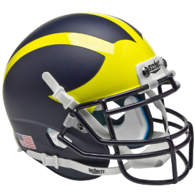 Michigan Wolverines Satin Blue Schutt XP Authentic Mini Football Helmet