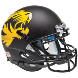 Missouri Tigers Matte Black Large Tiger Schutt XP Authentic Mini Football Helmet