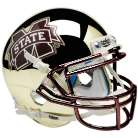 Mississippi State Bulldogs Chrome Gold Schutt XP Authentic Mini Football Helmet