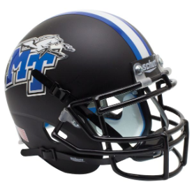 Middle Tennessee State Blue Raiders Matte Black Schutt XP Authentic Mini Football Helmet