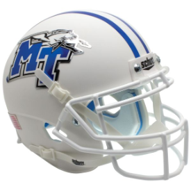 Middle Tennessee State Blue Raiders White w/Chrome Decals Schutt XP Authentic Mini Football Helmet
