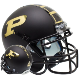 Purdue Boilermakers Matte Black Schutt XP Authentic Mini Football Helmet