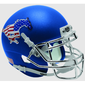 SMU Mustangs Satin Blue Schutt XP Authentic Mini Football Helmet