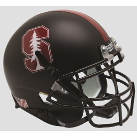 Stanford Cardinal Matte Black Tree Schutt Mini Football Helmet Desk Caddy