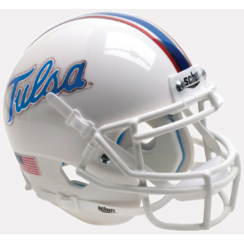 Tulsa Golden Hurricane White Chrome Decals Schutt XP Authentic Mini Football Helmet