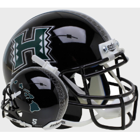 Hawaii Warriors Dark Green Islands Schutt XP Authentic Mini Football Helmet