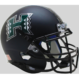 Hawaii Warriors Matte Black Schutt XP Authentic Mini Football Helmet