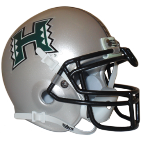 Hawaii Warriors Silver Schutt XP Authentic Mini Football Helmet