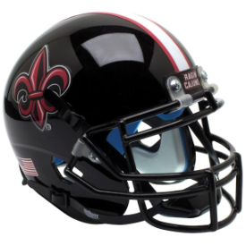 Louisiana Lafayette Ragin Cajuns Black w/Fleur De Lis Schutt XP Authentic Mini Helmet