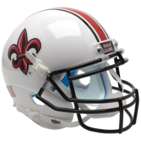 Louisiana Lafayette Ragin Cajuns White w/Fleur De Lis Schutt XP Authentic Mini Helmet