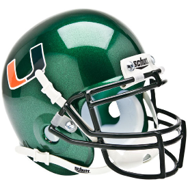 Miami Hurricanes Green Schutt XP Authentic Mini Football Helmet