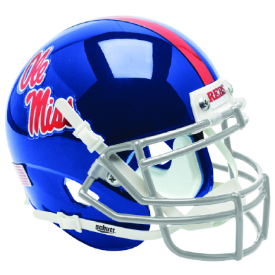 Mississippi (Ole Miss) Rebels Blue w/Chrome Decal Schutt XP Authentic Mini Football Helmet