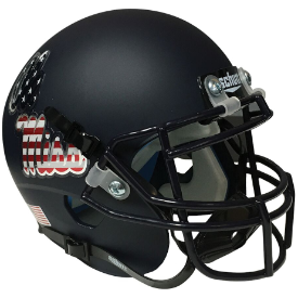 Mississippi (Ole Miss) Rebels Matte Black w/ Patriot Decal Schutt XP Authentic Mini Football Helmet