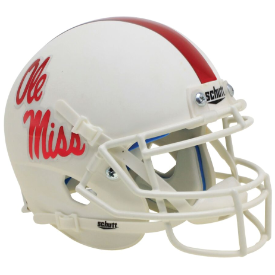 Mississippi (Ole Miss) Rebels White with Red Decal Schutt XP Authentic Mini Football Helmet