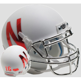 Nebraska Cornhuskers Chrome Mask 2016 Schutt Mini Football Helmet Desk Caddy