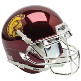 USC Trojans Chrome Schutt Mini Football Helmet Desk Caddy
