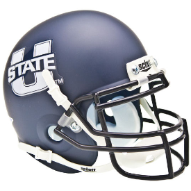 Utah State Aggies Matte Navy Schutt XP Authentic Mini Football Helmet