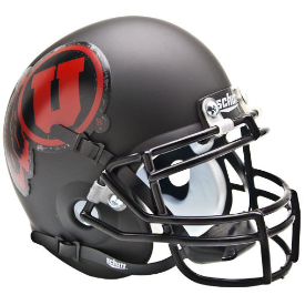 Utah Utes Matte Black Red Logo Schutt XP Authentic Mini Football Helmet