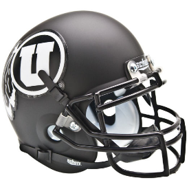 Utah Utes Matte Black White Logo Schutt XP Authentic Mini Football Helmet