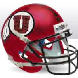 Utah Utes Satin Red w/Black Mask Schutt XP Authentic Mini Football Helmet