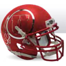 Utah Utes Satin Red Chrome Decal Schutt XP Authentic Mini Football Helmet