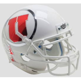 Utah Utes White Chrome Decal Schutt XP Authentic Mini Football Helmet