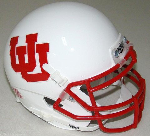 Utah Utes White UU Schutt XP Authentic Mini Football Helmet