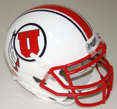 Utah Utes White w/Stripe Schutt XP Authentic Mini Football Helmet