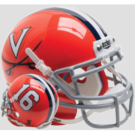 Virginia Cavaliers Orange 16 Schutt XP Authentic Mini Football Helmet