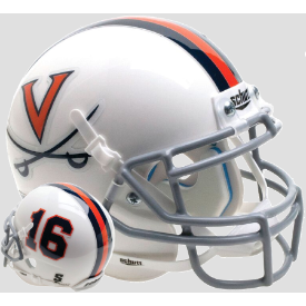 Virginia Cavaliers White 16 Schutt XP Authentic Mini Football Helmet