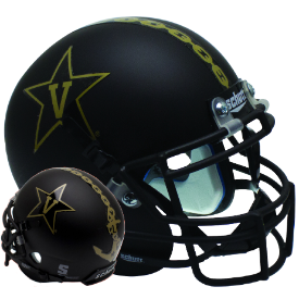 Vanderbilt Commodores Matte Black w/Anchor Schutt XP Authentic Mini Football Helmet