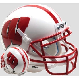 Wisconsin Badgers White Schutt Mini Football Helmet Desk Caddy