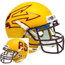 Arizona State Sun Devils Matte Gold Lg Pitchfork Schutt XP Authentic Full Size Football Helmet
